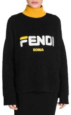Fendi Mania Logo Mohair Turtleneck Sweater