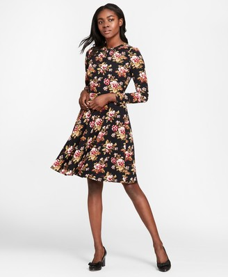 Brooks Brothers Floral-Print Satin A-Line Dress