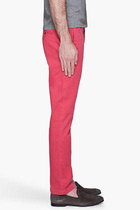Band Of Outsiders Red faded Twill Chino Trousers