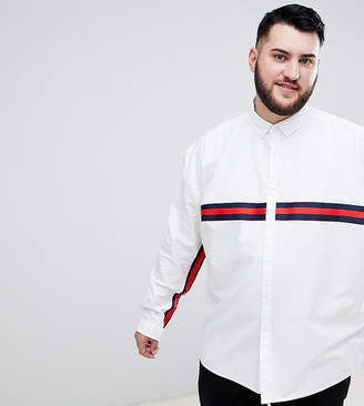 Asos DESIGN plus oversized oxford shirt with black tape detail in white