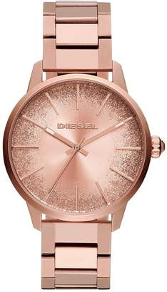 Diesel Castilla Rose Gold Tone Glitter Effect Sunray Dial Ladies Watch