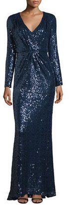Badgley Mischka V-Neck Sequined Long-Sleeve Column Gown $695 thestylecure.com