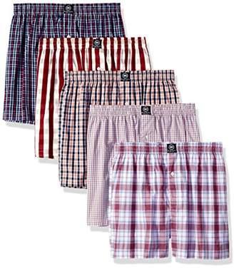 Badger Smith Men's 5 - Pack Cotton Checks color Boxer Shorts L