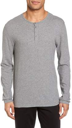 Vince Raw Edge Long Sleeve Henley Tee