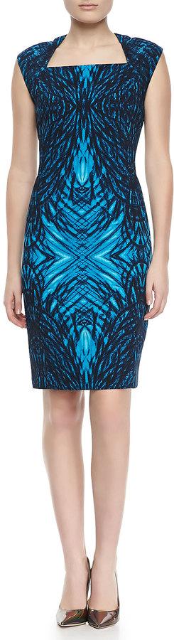 T Tahari Moxie Printed Cap-Sleeve Dress