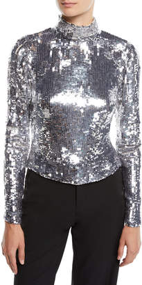 Osman Amos Long-Sleeve Sequin Ribbon Tieback Turtleneck Top