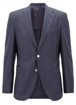 BOSS Hugo Regular-fit jacket in checkered virgin wool serge 38R Dark Blue
