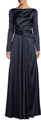 Talbot Runhof Ross High-Neck Long-Sleeve Ruched A-Line Stretch-Satin Evening Gown