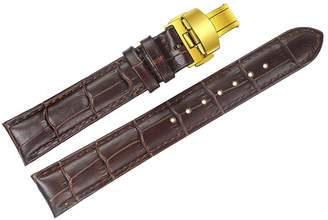AUTULET 12mm Women's Small Narrow Brown Wristwatches Leather Bands Replacements for Luxury Watches with Golden Deployment Clasp