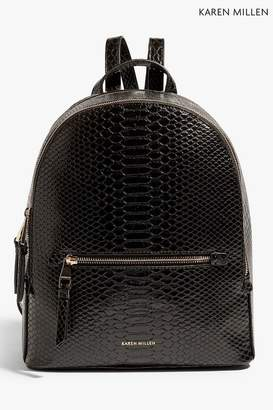 At Next Womens Karen Millen Black Pu Snake Print Backpack