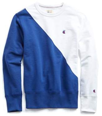 Todd Snyder + Champion Champion Diagonal Colorblock Sweatshirt in White and Blue