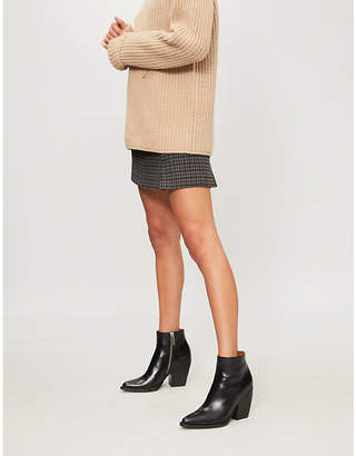 Claudie Pierlot Salima checked woven mini skirt