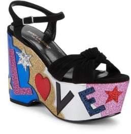 Saint Laurent Candy Love Suede & Leather Graphic Platform Sandals