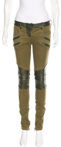BalmainBalmain Leather-Trimmed Skinny Jeans