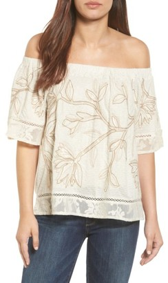 Women's Lucky Brand Embroidered Off The Shoulder Top $59.50 thestylecure.com
