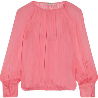 Emilio Pucci - Gathered Silk Blouse - Pink $1,230 thestylecure.com