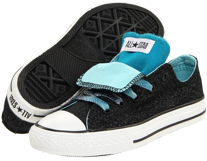 Converse Chuck Taylor All Star Double Tongue Ox (Toddler/Youth) (Black/Blue) - Footwear