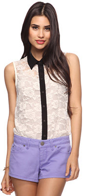 Forever 21 Contrast Lace Shirt