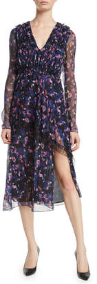 Jason Wu V-Neck Long-Sleeve Floral-Print Crinkle Chiffon Day Dress w/ Lace Trim