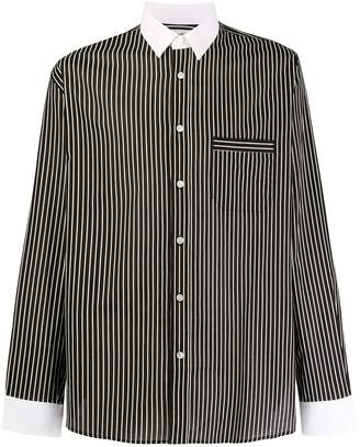 Saint Laurent striped contrasting collar shirt