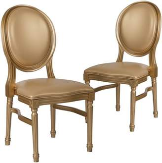 Flash Furniture 2 Pk. HERCULES Series 900 lb. Capacity King Louis Chair with White Vinyl Back and Seat and Gold Frame