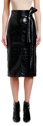 MSGM Embossed Pencil Skirt with Bow Detail