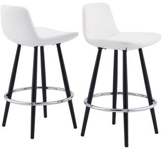 Mainstays Upholstered Bucket Seat Counter Stool, Set of 2, White