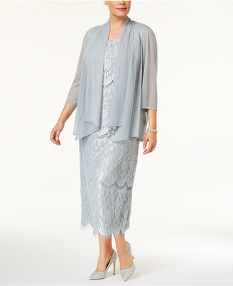 R & M Richards Plus Size Draped Jacket & Lace Dress $129 thestylecure.com