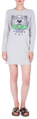 Kenzo Embroidered Logo Crewneck Sweat Dress, Light Gray