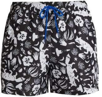 Paul Smith Fox Print Swim Shorts - Mens - Black Multi
