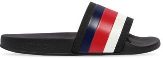 Gucci Web Print Rubber Slide Sandals