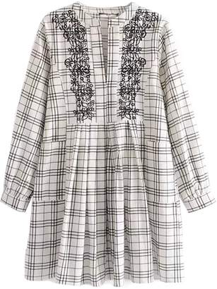 Goodnight Macaroon 'Sadelle' Embroidered Plaid Open Dolly Dress