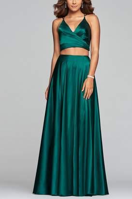 Faviana Long v-neck two-piece charmeuse dress