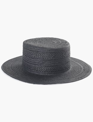 Lucky Brand Black Flat Top Boater Hat