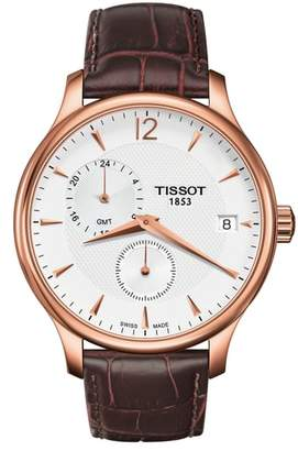 Tissot Tradition GMT Leather Strap Watch, 42mm