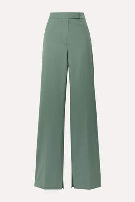 3.1 Phillip Lim Wool-blend Crepe Flared Pants - Gray green