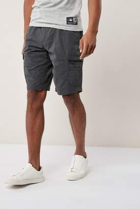 Next Mens Charcoal Belted Cargo Shorts