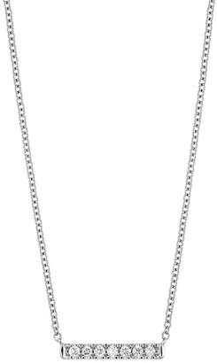 Bony Levy 18K White Gold Pave Diamond Petite Bar Pendant Necklace - 0.07 ctw