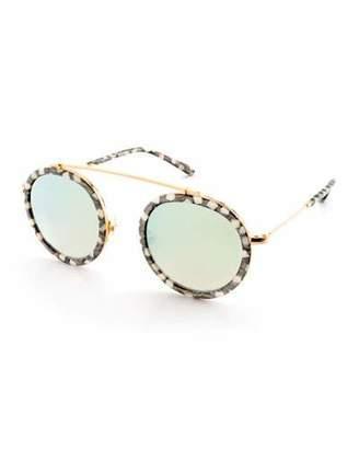 KREWE Conti Mirrored Aviator Sunglasses, Stella Pattern