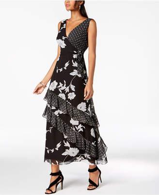 INC International Concepts I.n.c. Ruffled Mixed-Print Maxi Dress, Created for Macy's