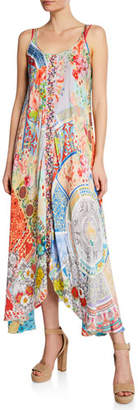 Johnny Was Kara Mixed-Print Scoop-Neck Sleeveless Dress w/ Slip