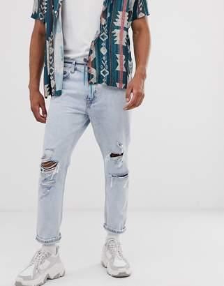Bershka slim fit cropped jeans with shoelace belt in light blue