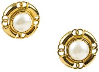 Chanel Gold Tone Metal & Cream Simulated Glass Pearl Cut Out 'CC' Clip On Earrings