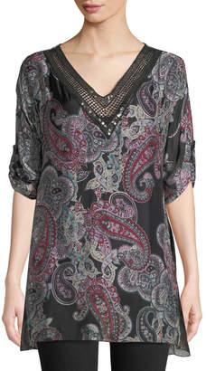 Moda Seta Paisley Silk-Blend Sequin-Trim Blouse