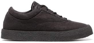 Yeezy graphite Crepe suede canvas flat sneakers