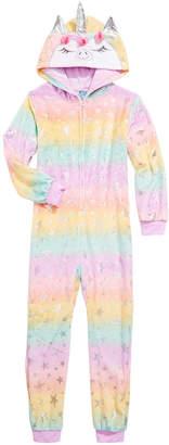 Max & Olivia Toddler Girls 1-Pc. Unicorn Hooded Coverall Pajamas