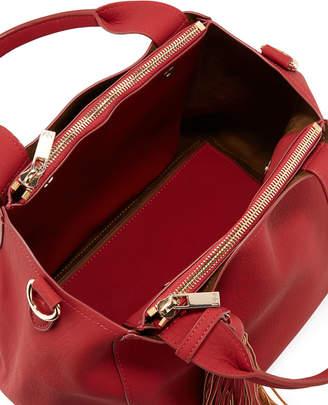 Neiman Marcus Matte Pebbled Tote Bag w/ Large Hanging Tassel