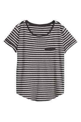 H&M Striped Jersey Top - Dark gray/gray melange - Women