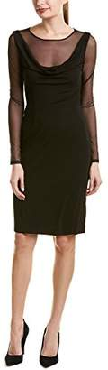 Vera Wang Women's Sheer Long Sleeve Cocktail Dress with Cowl Neck