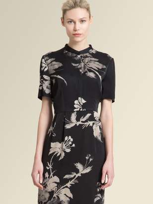 DKNY Satin Short-Sleeve Floral Sheath